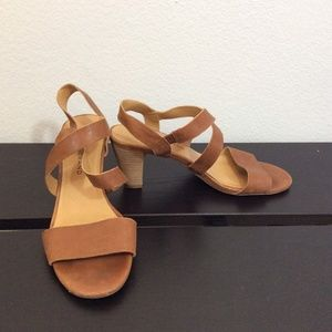 LUCKY BRAND Tan Leather Strap Slip On Heels